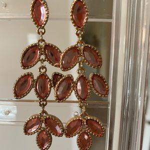 Pink & Gold Dangly Earrings